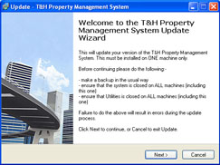 The T & H Property Management System Update Wizard allows you to install updates easily