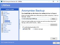 Anonymise a backup and send it to Support in one simple step.